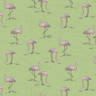 Fern Garden by Makower UK - 6287 - Flamingos on Green - 2075_G - Cotton Fabric